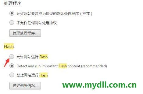 允许网站运行flash
