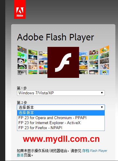 选择Adobe Flash Player版本