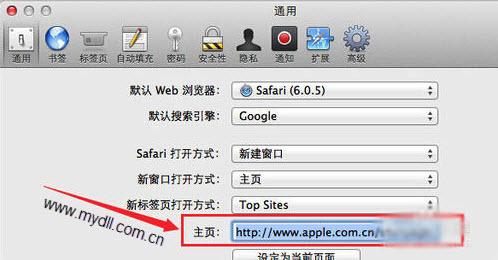 设置Safari浏览器主页
