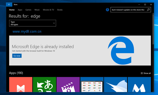 Microsoft Edge is already installed