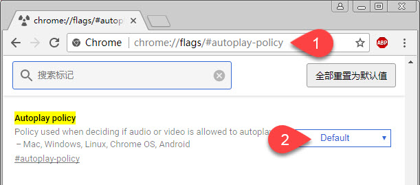 Chrome自动播放选项