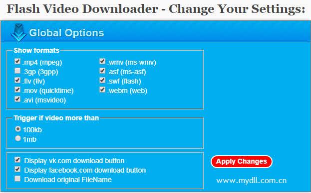 Flash Video Downloader设置选项