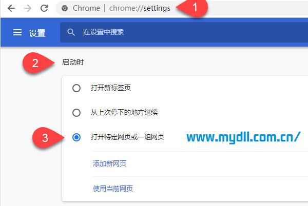 设置Chrome启动时打开特定网页
