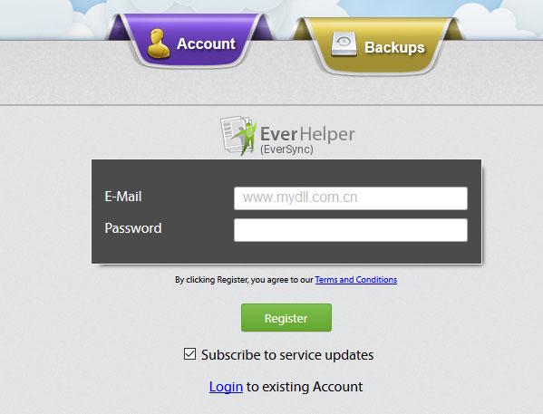 注册Eversync账号
